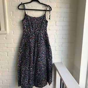J crew summer midi polka dot on black dress 2